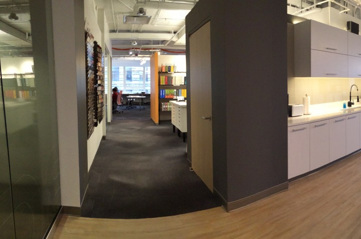 Workspace to the left, kitchen to the right at BOX Studios' Chicago office. All photos courtesy of BOX.