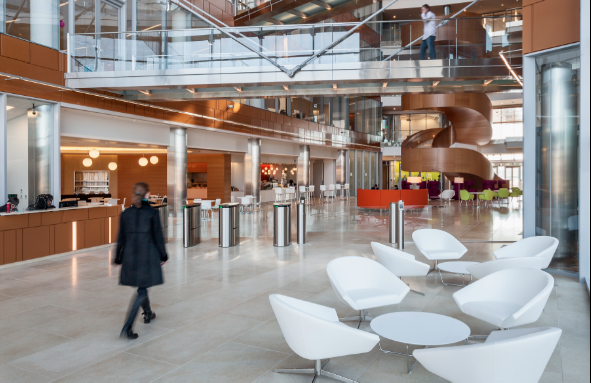 The atrium at GSK's Navy Yard office. Photo by Francis Dzikowski-Esto for Robert A.M. Stern Architects, LLP.