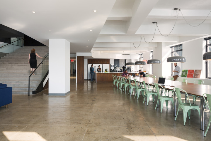 """In keeping with the Droga5 culture, the dining area features a long table to accommodate communal dining that take place regularly, often after standard work hours,"" said Rob Rogers, the founding partner of ROGERS ARCHITECTURE. ""The table can also be enlarged and reconfigured for a variety of functions including agency's annual Thanksgiving dinner."""