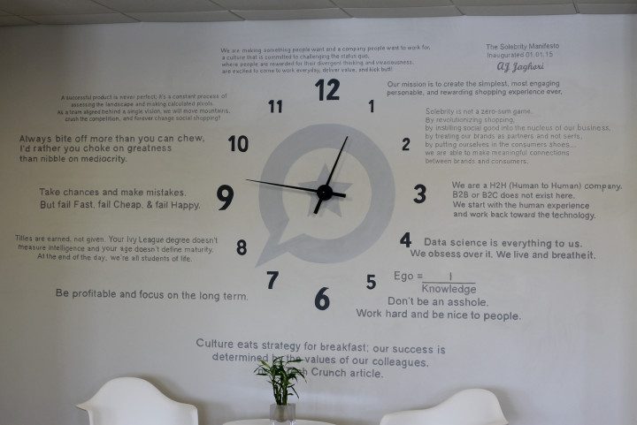 The Solebrity company culture manifesto displayed prominently at the entrance of the office. Photo by Natalie Grasso.
