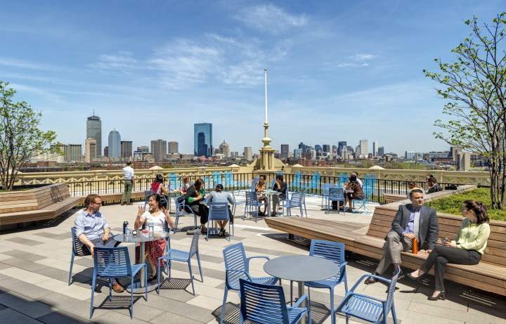 BPS employees and the public can enjoy this rooftop deck with panoramic views of the Boston skyline. Photo by Anton Grassl of Esto.