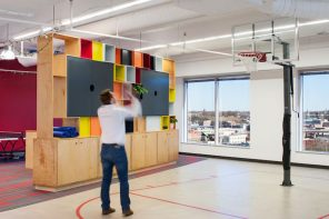 A mini basketball court plays up AvePoint's active team culture. Image Courtesy of Ansel Olson.