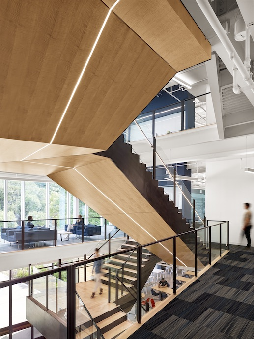 The stair, which connects all three floors, is central to Trend Micro's new offices. Image courtesy of Casey Dunn.