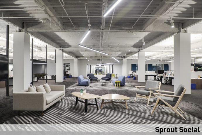 office ceilings. Full Floor Interior Build-out Of The Corporate Headquarters For Sprout  Social, A Social Media Management Company \u2013 Image Courtesy Skender Office Ceilings