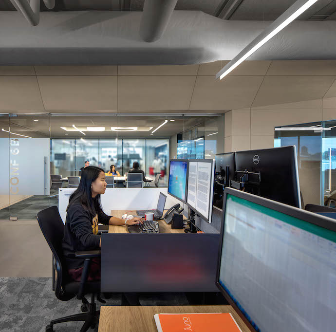 Ensuring that the workstations had access to natural light was a key feature of this project. Image courtesy of Bill Timmerman.