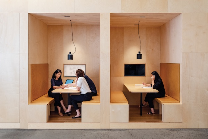 These small group booths are one of the variety of workspaces the new office offers. Image courtesy of Lochland Brookman.